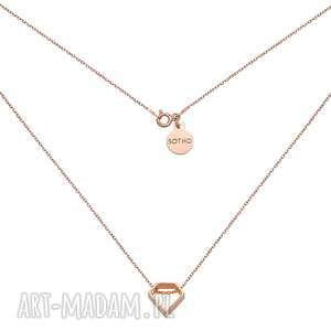 naszyjnik z różowego złota z przestrzennym diamentem sotho
