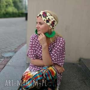 ręczne wykonanie opaski opaska damska turbanowa folkowa w kwiaty