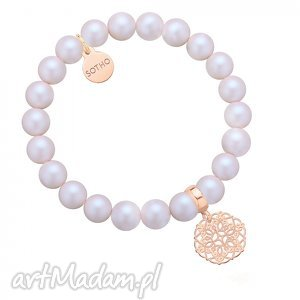 bransoletki perłowa bransoletka z pereł swarovski crystal rozetką różowego złota