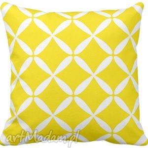 Poduszka ozdobna dekoracyjna żółto-białe figury geometryczne 6582 , żółta