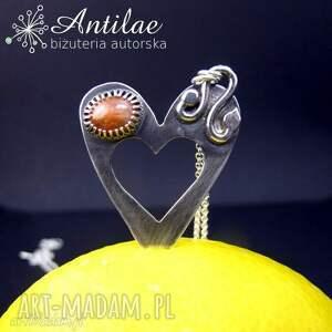 Naszyjnik z kamieniem słonecznym, srebrny naszyjnik, serce, serce