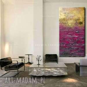 Duzy obraz do salonu fioletowo zloty ambaras, fioletowa-dekoracja, obraz-na-plotnie