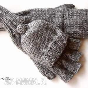 bezpalczatki z klapką 6 - rękawiczki, mitenki, klapka, dziergane, wełna
