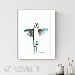 grafika A4 malowana ręcznie, minimalizm, abstrakcja, turkus, obrazy-ręcznie-malow