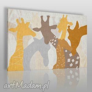 obraz na płótnie - żyrafy 120x80 cm 25001, żyrafy, szyja, zabawny, dzieci