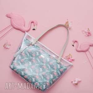 farbotka torebka delise 2w1 1083 flamingi, torebka, foliowa, summer