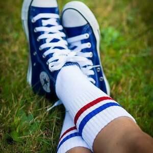Skarpetki ZAYE męskie w paski granatowo-czerwone, buty, skarpetki, newbalance
