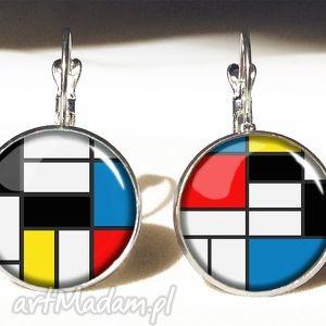 Mondrian - duże kolczyki wiszące, mondrian, geometryczne,
