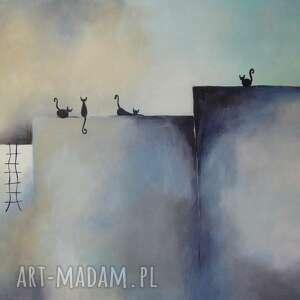 Obraz na płótnie - ABSTRAKCJA Z KOTAMI 60/40 cm, abstrakcja, obraz, niebieski, koty