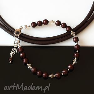 akadi 1 maroony - bransoletka, perły, swarovski, srebro, delikatna, drobna