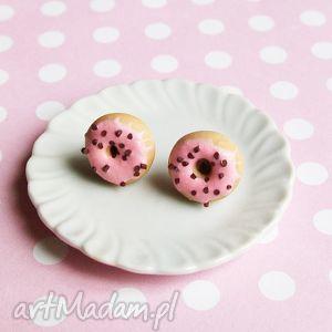 kolczyki szyfty donuty pączki, kolczyki, sztyfty, wkrętki, modelina, donuty