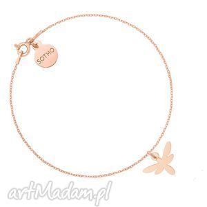 bransoletka z ważka z różowego złota - łańcuszkowa