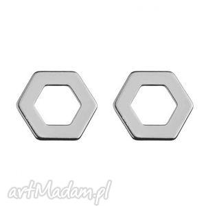 srebrna kolczyki sześciokąty - blogerskie, kobiece, sztyfty, srebro
