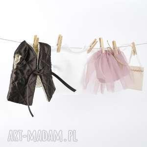 zestaw ubranek - pudrowy róż z gorzką czekoladą, ubranka, dlalalek, lalki, spódniczka