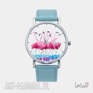 Prezent Zegarek z grafiką FLAMINGI, prezent, ptaki, różowe, kolorowe, egzotyczne