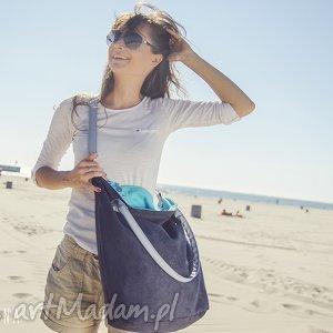 torba worek blue aquamarine, torba, granat, turkus, zamsz, alkantara na ramię