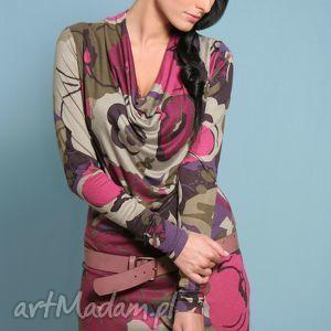 wzorzysta mini-sukienka z opadającym dekoltem, sukienka, mini, dekolt