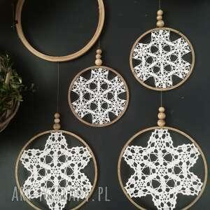 dekoracje 4 x łapacz snów, lapacz snow, łapacz, koronka, makrama, dekoracja