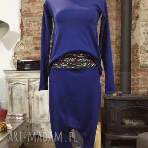 Nad Kobaltowym niebem-zestaw, spodnie, baggy, bawełniane, bluza, asymetryczna