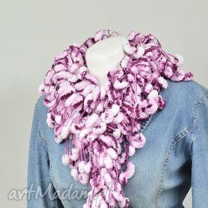 pom-pon scarf - bakłażan z bielą - oberżyna, biały, szalik, owijak