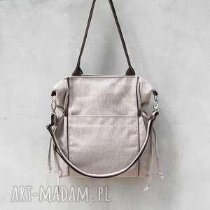 amber - duża torba shopper beżowa plecionka i brąz, prezent, duża, sportowa