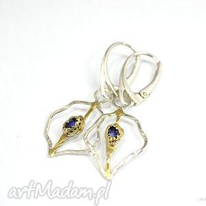 iolit, kolczyki, srebrne, delikatne, złocone biżuteria