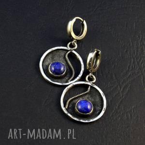 Prezent lapis lazuli i łzy, lapis-lazuli, srebro-oksydowane, prezent,