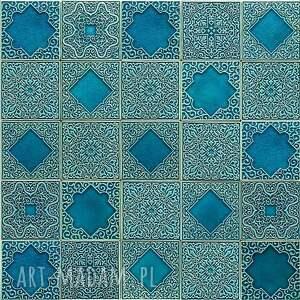 kafle turkusowe arabeski zestaw I, kafle, dekory, płytki, ścienne, kuchnia