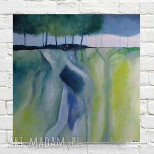abstrakcyja z drzewami -obraz akrylowy formatu 40/40cm