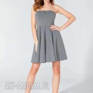 sukienka mini z gorsetowym przodem t122 kolor szary - tessita - sukienka, gorsetowa, mini