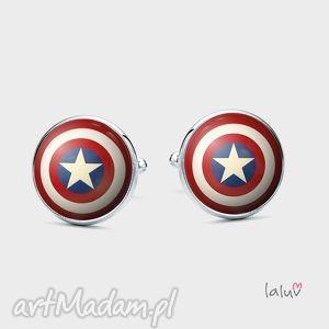 spinki do mankietów tarcza - kapitan, komiks, prezent, ameryka, chłopak, bohater