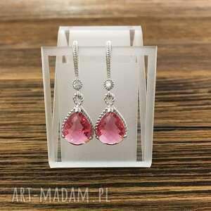 kolczyki kryształy light rose, mosiądz rodowany, kolczyki, pink, rose