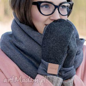 rękawiczki wygodne wełniane rękawice z motywem jodełki, wełna, eleganckie