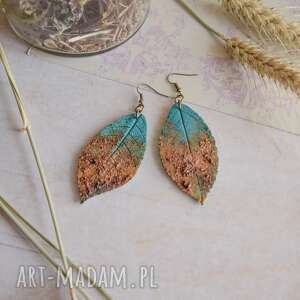 liście wierzby - kolczyki z efektem rdzy, kolczyki, wiszące