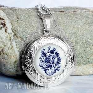 naszyjniki oryginalny naszyjnik otwierany na prezent blue folk, srebrny, sekretnik