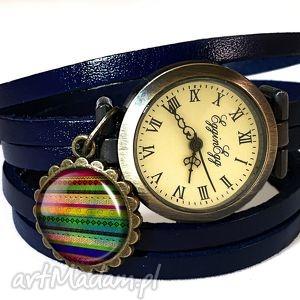 azteckie paski - zegarek bransoletka na skórzanym pasku nowoczesny