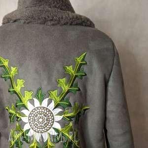 piękny kożuch Folk Design w hafty Grafitowy , folk,