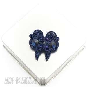 kolczyki lady dark sapphire soutache, stylowe, sutasz, granatowe