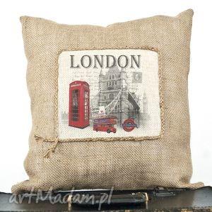 unikalny, poduszka jutowa londyn, poduszka, juta, lawenda, dekoracja dom