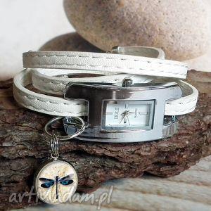 zegarek z zawieszką pasek skórzany ważka, zegarek, damski, oplatany, biały, elegancki