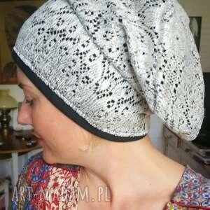 Czapka damska srebrno czarna ażurowa czapki ruda klara ażurowa