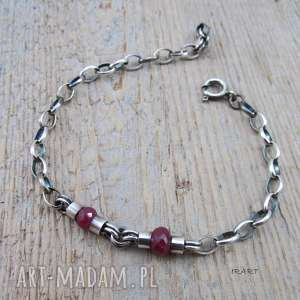 ręcznie wykonane prosta bransoletka z rubinu