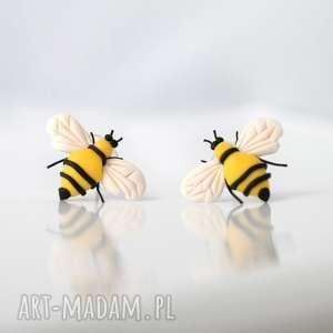 Pszczoły - designerskie kolczyki wkręty, pszczoły, pszczoła, owad, zwierzę, zwierzęta