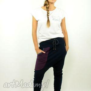 spodnie granatove damskie - baggy pants, dres, yoga, dance, zumba, bawełna