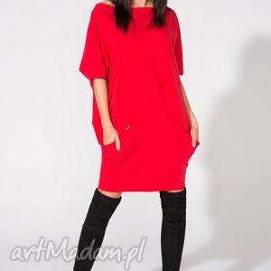 Sukienka 2w1 z paskiem, T155, czerwona, sukienka, dzianina, bawełna, luźna, pasek