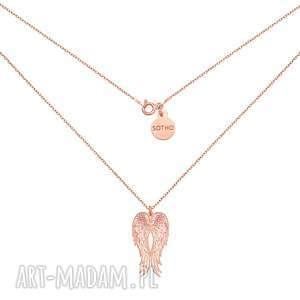 Długi naszyjnik z różowego złota ze skrzydłami naszyjniki sotho