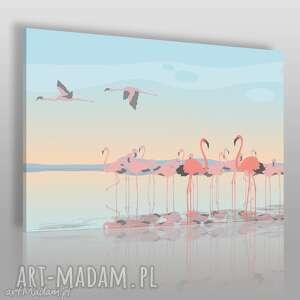 obraz na płótnie - flamingi ptaki 120x80 cm 67801, flaming, flamingi, ptaki, woda