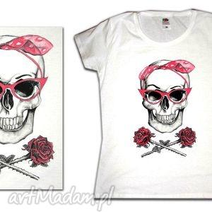 prezent na święta, pinupskull roses in white, tshirt, koszulka, handpainted, ręcznie