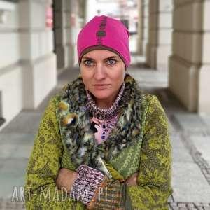 czapki czapka damska amarant dziurawiec sportowa handmade, czapka, sportowa, etno