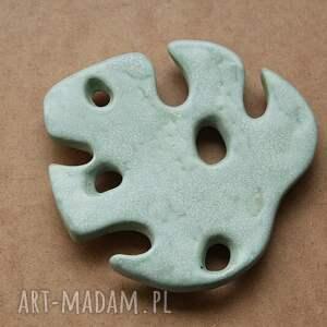 mydelniczka ceramiczna - liść monstery, ceramiczna, monstery